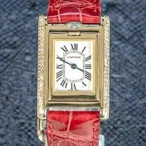 Cartier nouveau Quartz Sertissage de pierres précieuses et de diamants Aiguilles en acier bleui 32mm Or jaune Verre saphir