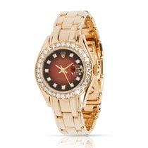 Rolex Lady-Datejust Pearlmaster Желтое золото 29mm Коричневый
