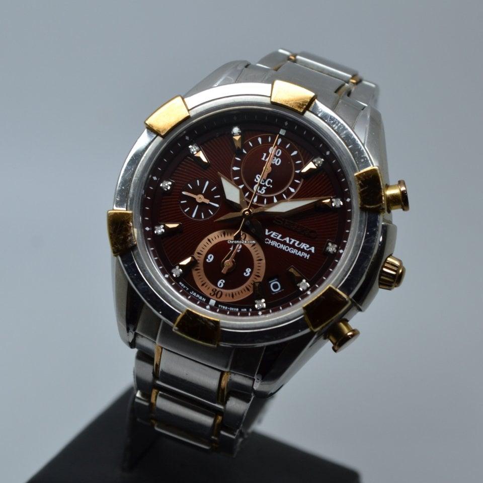 Seiko Velatura 39mm Quartz Chronograph Brown Diamond Dial FULL SET