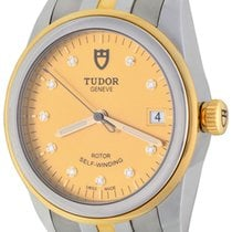 Tudor Glamour Date pre-owned 36mm Champagne Date Gold/Steel