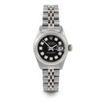 Rolex Сталь Автоподзавод Черный Без цифр 26mm подержанные Lady-Datejust