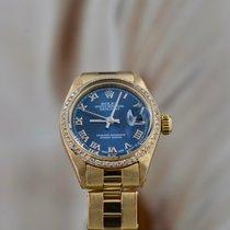 Rolex Oyster Perpetual Lady Date Желтое золото 26mm Синий Римские