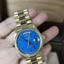 Rolex Day-Date 36 Oro amarillo 36mm Azul Sin cifras