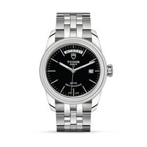 Tudor Glamour Date-Day pre-owned 39mm Black Date Weekday Steel