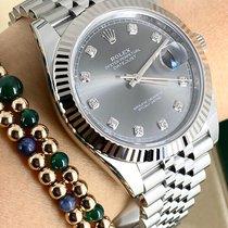 Rolex Or blanc Remontage automatique Gris Sans chiffres 41mm nouveau Datejust II