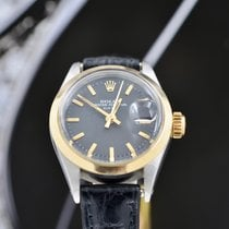 Rolex Oyster Perpetual Lady Date usato 26mm Nero Data Pelle