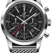 Breitling Transocean Chronograph GMT Steel 43mm Black No numerals