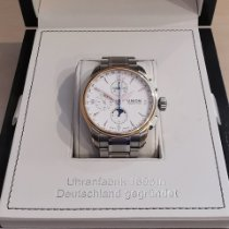 Union Glashütte Belisar Chronograph pre-owned 43mm White Moon phase Chronograph Date Weekday Month Steel
