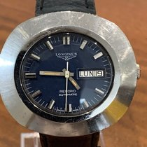 Longines Record pre-owned 44mm Blue Date Weekday Leather
