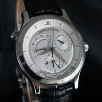 Jaeger-LeCoultre Master Geographic Stal 38mm Srebrny Bez cyfr