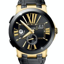 Ulysse Nardin Yellow gold Automatic Black Roman numerals 43mm pre-owned Executive Dual Time