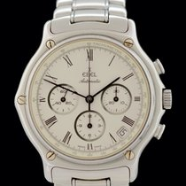 Ebel 1911 occasion 39mm Blanc Chronographe Date Tachymètre Acier