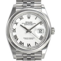 Rolex Datejust Staal 36mm Wit Romeins
