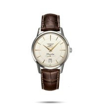 Longines Flagship Heritage Steel 38.5mm Silver No numerals United States of America, New York, Bellmore