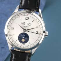 Montblanc Heritage Chronométrie pre-owned 40.5mm Silver Moon phase Date Weekday Month Crocodile skin