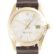 Rolex Oyster Perpetual Date Yellow gold 34mm Silver