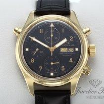 IWC Fliegeruhr Doppelchronograph gebraucht 42mm Schwarz Chronograph Doppelchronograph Datum Wochentagsanzeige Leder