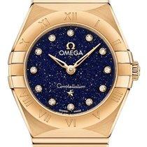 Omega Constellation Quartz Желтое золото 25mm Синий