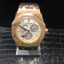 Audemars Piguet Royal Oak Dual Time Rose gold 39mm Silver No numerals