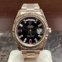 Rolex Oro rosa Automático Negro Sin cifras 41mm usados Day-Date II