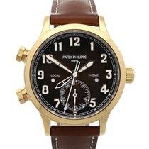 Patek Philippe Travel Time 37.5mm Automatik gebraucht Uhr mit Original-Box und Original-Papieren 2019