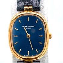 Patek Philippe Golden Ellipse Желтое золото 24mm Синий Без цифр