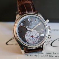 Patek Philippe Annual Calendar Chronograph gebraucht 40.5mm Grau Chronograph Datum Monatsanzeige Jahreskalender Krokodilleder