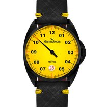 Meistersinger Metris Steel 38mm Yellow Arabic numerals
