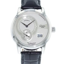 Glashütte Original PanoMaticDate pre-owned 39.3mm Silver Date Leather