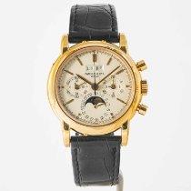 Patek Philippe Perpetual Calendar Chronograph Oro amarillo 36mm Plata Sin cifras