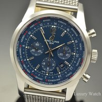 Breitling Transocean Unitime Pilot pre-owned 46mm Blue Chronograph Date GMT Fold clasp