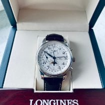 Longines Master Collection pre-owned 42mm Silver Moon phase Chronograph Date Weekday Month Crocodile skin