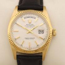 Rolex Day-Date gebraucht 36mm Weiß Datum Leder