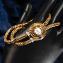 "Van Cleef & Arpels Yellow gold Manual winding An Iconic 1940s Special Order Van Cleef & Arpels 18kt Yellow Gold, Platinum Diamond & Sapphire Set, Double Snake Cord ""Cadenas"" Bracelet Watch pre-owned United States of America, New York, New York, New York"