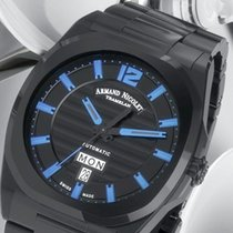 Armand Nicolet new Automatic Display back Central seconds Guilloché dial Luminous hands Tempered blue hands Luminous indices PVD/DLC coating 41mm Steel Sapphire crystal