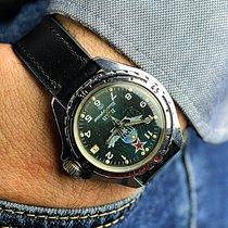 Vostok Green Military Russian Wristwatch Bon Acier 43mm Remontage manuel
