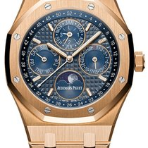 Audemars Piguet Pозовое золото Автоподзавод Синий Без цифр 41mm новые Royal Oak Perpetual Calendar