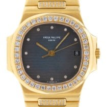 Patek Philippe Nautilus Желтое золото 37mm Синий Без цифр