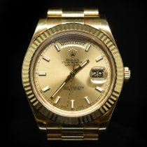 Rolex Oro amarillo Automático Champán Romanos 41mm usados Day-Date II