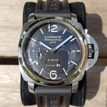 Panerai Steel Manual winding Black Arabic numerals pre-owned Luminor 1950 8 Days GMT