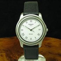 Tissot PR 50 gebraucht 36mm Weiß Datum Leder