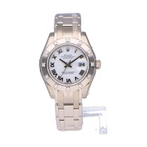 Rolex Lady-Datejust Pearlmaster Or blanc 29mm Blanc Romains