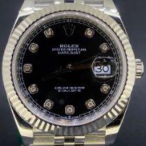 Rolex Or blanc Remontage automatique Noir Sans chiffres 41mm nouveau Datejust