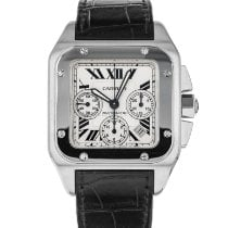 Cartier Santos 100 pre-owned 38mm Silver Chronograph Date Crocodile skin