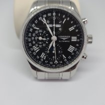 Longines Master Collection pre-owned 42mm Black Moon phase Chronograph Date Weekday Month Steel