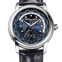 Frederique Constant Manufacture Worldtimer Steel 42mm Blue Arabic numerals