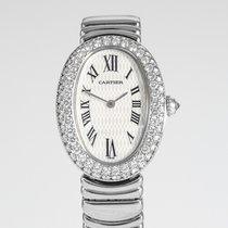 Cartier Baignoire Hvidguld 23mm Sølv Romertal