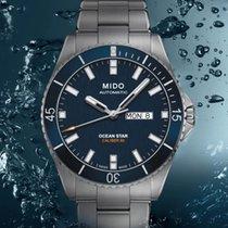 Mido Ocean Star Stal 42.5mm Niebieski Bez cyfr