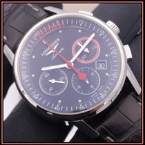 Longines Steel Automatic Black No numerals 41mm pre-owned Column-Wheel Chronograph