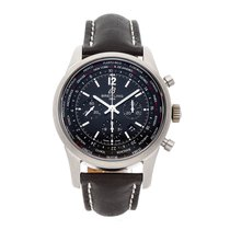 Breitling Transocean Unitime Pilot pre-owned 46mm Black Chronograph Date GMT Leather